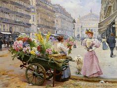 Schreyer_Louis_Marie_de_La-Marchande_des_Fleurs_Avenue_De_Lorpera_Paris_1895_Oil_on_Canvas-huge.jpg (640×484)