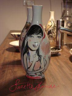 Vases handpainted by SuzetteHuwae
