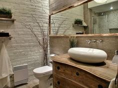 Painting Brick Interior Walls Ideas | Modern bathroom design with white brick wall and wood furniture