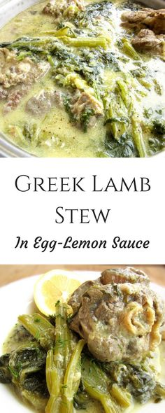 An extremely healthy lamb stew, made with greens and fresh herbs all in an egg-lemon sauce. A traditional Greek dish that bursts with flavor. Lamb Recipes, Greek Recipes, Meat Recipes, Whole Food Recipes, Healthy Recipes, Healthy Foods, Healthy Eating Tips, Clean Eating, Healthy Nutrition