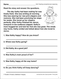 Reading Comprehension - Reasoning (Dance Recital) by Scholastic 3rd Grade Reading Comprehension Worksheets, Reading Worksheets, Reading Skills, Guided Reading, Cambridge Primary, Accelerated Reader, Picture Composition, Dance Recital, Comprehension Questions