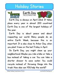 holiday stories comprehension earth day
