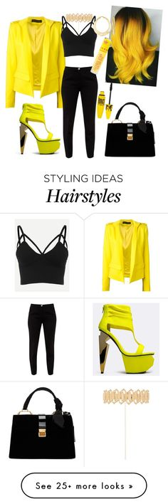 """""""Hello Yellow!"""" by djshanice24 on Polyvore featuring Alexandre Vauthier, Privileged, Haati Chai, Ted Baker, Ross-Simons, Miu Miu, Maybelline and Jeffree Star"""