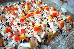 Candy Corn Bark, perfect for the fall as a classroom measuring activity