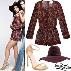 Kylie Jenner posed for the Sring Collection of Kendall + Kylie for PacSun wearing a Kendall & Kylie Lace-Up Long Sleeve Romper ($49.95), a Brixton Gia Hat (Sold Out) and Stuart Weitzman Nudist Sandals ($415.00).
