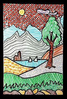 With colored felt pens we have drawn these landscapes, starting from a stylized drawing of a simple landscape. Tree Drawing Simple, 6th Grade Art, Fourth Grade, Art Curriculum, School Art Projects, Middle School Art, Autumn Art, Elements Of Art, Art Lesson Plans