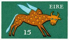 Vintage 1975 Ireland Winged Ox Postage Stamp,ireland,irish,irish mythology,postage,stamp,winged ox,Heinrich Gerl,irish art,celtic art,celtic,irish symbol