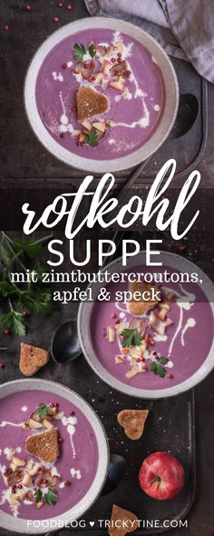 Recipe for red cabbage soup with cinnamon butter croutons, apple and bacon & an exciting day at Iglo on the cabbage field - Low Carb Gerichte :) - Salat Easy Smoothie Recipes, Easy Soup Recipes, Bacon Recipes, Fall Recipes, Snack Recipes, Bacon Food, Red Cabbage Soup, Red Cabbage Recipes, Cinnamon Butter