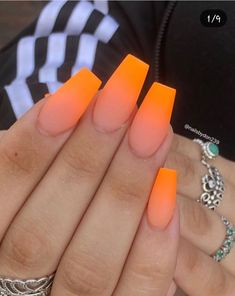Gorgeous Ombre Nail Design Ideas - The Glossychic Acrylic Nails Coffin Short, Coffin Shape Nails, Summer Acrylic Nails, Best Acrylic Nails, Edgy Nails, Stylish Nails, Trendy Nails, Swag Nails, Ombre Nail Designs