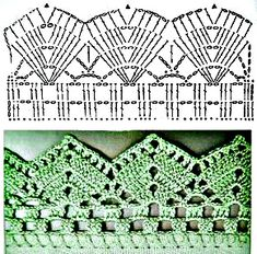 If you looking for a great border for either your crochet or knitting project, check this interesting pattern out. When you see the tutorial you will see that you will use both the knitting needle and crochet hook to work on the the wavy border. Crochet Boarders, Crochet Edging Patterns, Crochet Lace Edging, Crochet Motifs, Crochet Diagram, Crochet Chart, Filet Crochet, Crochet Designs, Easy Crochet
