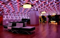 Salon Urbain Lounge - The Salon Urbain Lounge offers a stunning space, mainly because of its striking ceiling design. As though inspired by the art of origami, it is an . Ceiling Art, Floor Ceiling, Ceiling Design, Contemporary Building, Contemporary Interior, Amazing Architecture, Interior Architecture, Interior Design, Velvet Room