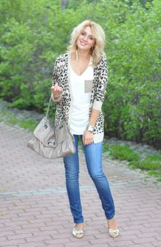 Leopard Cardigan with White Shirt and Jeans.