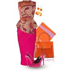 """Hot in Pink"" by gracekathryn on Polyvore ~Latest African Fashion, African women dresses, African Prints, African clothing jackets, skirts, short dresses, African men's fashion, children's fashion, African bags, African shoes ~DK"