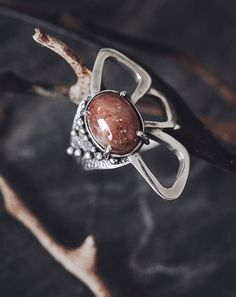 Sun Stone geometrical Sterling Silver Ring - tribal, boho, statement, unique, boho chic, butterfly jewelry - Hedera Collection // NC-2015-11
