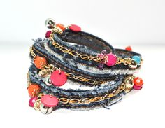 Denim Bracelets - Something to make with your old jeans.