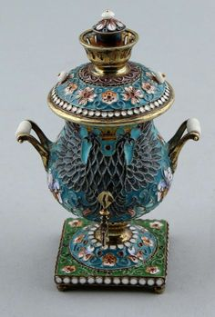 Silver Russian Samovar miniature partly gilded and enamelled-