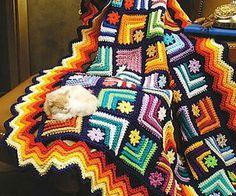 Granny Square & Scrap Crochet Afghan Patterns - Page 2 Crochet Afghans, Crochet Motifs, Crochet Quilt, Crochet Blocks, Tunisian Crochet, Crochet Squares, Knit Crochet, Granny Squares, Crochet Granny