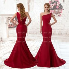 One Shoulder Satin Mermaid Evening Dresses/Prom by DressLife, $96.00