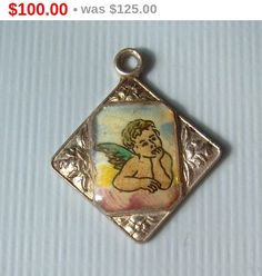 "Antique German Cherub Angel Charm Pendant-Vintage Sterling ""835"" Silver-Cupid Putti Putto Eros Erato-Religious Collectible-Womens Jewelry by CougarCoveFineGifts on Etsy https://www.etsy.com/listing/250162819/antique-german-cherub-angel-charm"