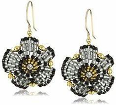 Miguel Ases Swarovski and Jet Beaded Flower Earrings on shopstyle.com