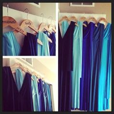 multi shade blue bridemaid dresses - Google Search