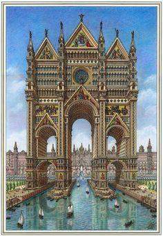 Futuristic City, Futuristic Architecture, Classical Architecture, Historical Architecture, Fantasy City, Fantasy Places, Fantasy World, Architecture Drawings, Architecture Design
