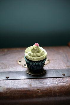 Matcha green tea buttercream chocolate cupcake