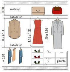 Medidas mínimas para garantir o conforto ao armazenar as roupas e objetos no closet, assim como nos guarda-roupas em geral.