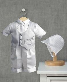 Lauren Madison Baby Set, Baby Boys 3-Piece Satin Christening Set