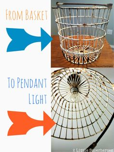 Step-by-step instructions on turning a basket into a ceiling light. http://www.2littlesuperheroes.com/2013/03/diy-egg-basket-light.html/