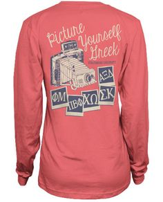 """""""Picture Yourself Greek"""" Panhellenic recruitment t-shirt."""