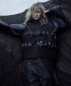 -Out of This World- This season's starkly powerful silhouettes hold their own against Iceland's extreme landscape of jagged lava fields,  mossy hills and shining white glaciers.  Rick Owens jacket, $7,344, and romper, $2,980; (212) 627-7222.