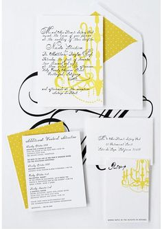 yellow black invites