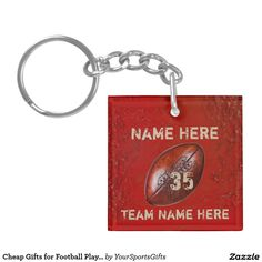 Cheap Football Gifts for Players. Type Your 3 TEXT (see front and back) and Change the COLORS to your Team COLORS.  CLICK: http://www.zazzle.com/cheap_gifts_for_football_players_your_text_color_double_sided_square_acrylic_keychain-256495964972579625 Cool faux Vintage Old Football Keychains Personalized. Great for your end of season football party favors, personalized football gifts, senior night football ideas. Call Zazzle Designer Linda or Rod to make changes: 239-949-9090
