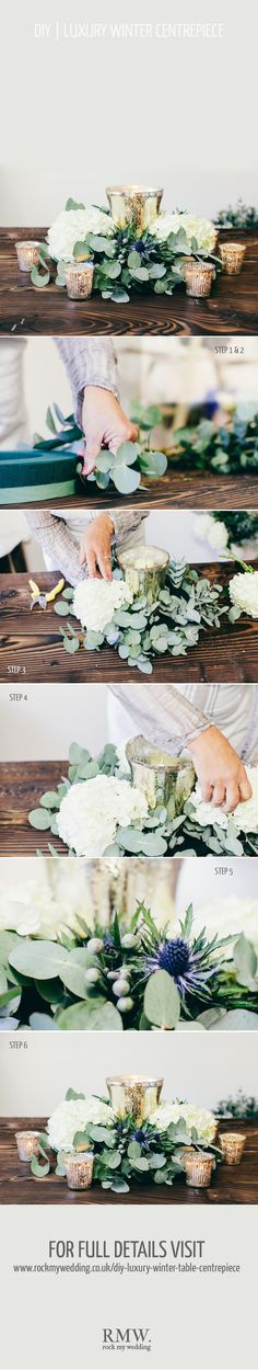 hydrangeas and eucalyptus centerpiece - maybe with mason jars instead of mercury glass to keep the rustic wedding feel? wedding centerpiece - reception