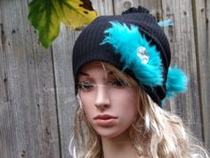 BLACK and ELECTRIC BLUE Tam Hat Ladies Women Beanie by PepiZ
