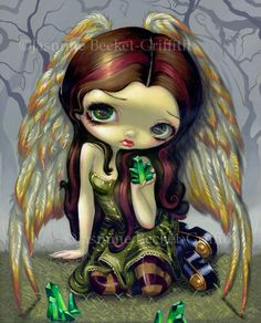 Angel with Emeralds green crystals fairy art print by strangeling, $13.99
