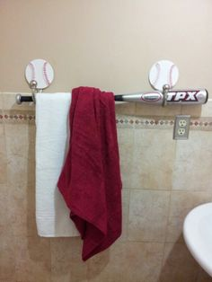To put the towels for the bathroom.would go great with our cards shower curtain. Baseball Bathroom Decor, Sports Bathroom, Man Cave Bathroom, Bathroom Kids, Kids Bath, Baseball Furniture, Upstairs Bathrooms, Boy Room, Kids Room
