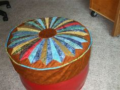 Quilted Attoman cover with Dresden Plate - Quilters Club of America
