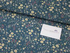 Babycord // Blumen // petrol von Textilwerkstatt //Christiane Colsman Textildesign  auf DaWanda.com