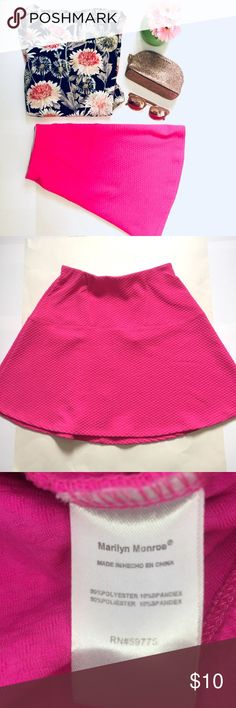 Hot pink skater skirt Hot pink skater skirt. Gently worn. Elastic waist, 13 inches at waist. 18 inches long. marilyn monroe Skirts Circle & Skater