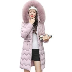 2018 Fashion Girls Long Parka Women Large Fur Collar Hooded Jacket Female Warm Winter Coat Outwear Thick Down Cotton Coat CM1562
