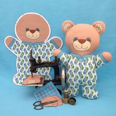 """Bear in Pajamas"" is a Cut and Sew Softie fabric panel. This is a do it yourself project with the instructions on the fabric. You only need fusible fleece for the ears and stuffing to complete this 11 inch tall bear. It is available in my Spoonflower shop. Link in Profile."