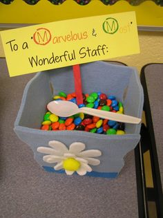 Attach this to individual bags of M for front office school staff etc! Teacher Morale, Staff Morale, Employee Appreciation Gifts, Teacher Appreciation Week, Employee Rewards, Volunteer Appreciation, Staff Gifts, Teacher Gifts, Teacher Stuff