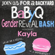 "Blunt, but funny gender reveal baby shower invitation for a ""babyQ""!  #pinkorblue #genderparty #babyreveal"