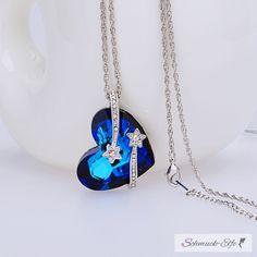 Anhänger Herz des Ozeans mit Stern Schnuppen royal blau mit Zirk