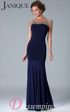 Janique K6037 Dress | DressEmpire.com | $490 | Subtle and elegant - this capped sleeve gown is perfect gown for the Mother of the Bride or Groom