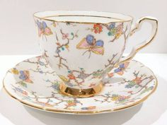 Royal Stafford Tea Cup and Saucer, Butterflys Antique Tea Cups, Vintage Cups, Royal Stafford, Tea Service, Tea Cup Saucer, Bone China, Tea Time, Tea Party, Antiques
