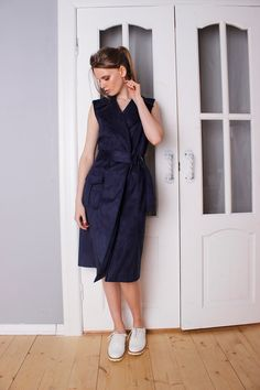 Double breasted faux suede midi dress, Faux suede navy vest, Stylish long vest, Camel knee length vest by Cultofdress on Etsy