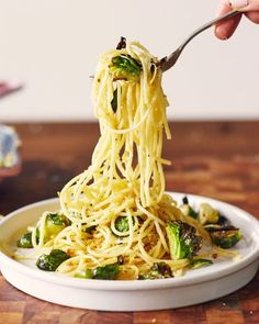 This easy pasta dish makes good use of those leftover Brussels sprouts, bread or rolls, and even the last dregs in the bottle of white wine from Turkey Day.